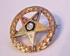 Antique Eastern Star Pin dated 1918 Mine Cut diamond 14K yellow gold tested