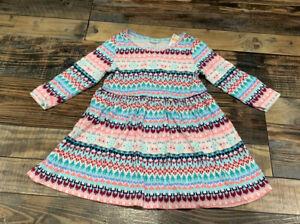 Nwt Gymboree Girls Knit Kitty Cat Fair Isle Dress Size 12-18 M