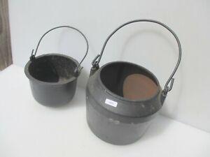 """Large Victorian Iron Glue Pot Antique Vintage Old Planter Cauldron 7.5""""W 4kg"""