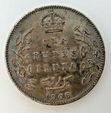 1906 India British 1 Rupee One Rupee Uncirculated Silver M3492