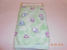 NEW FLEECE BABY BLANKET HEARTS DESIGN ON GREEN 30x30 INCHES Unisex Free Ship