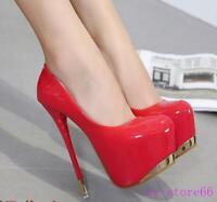 Sexy Women's Super High Heel Stilettos Shoes Pumps Nightclub Patent Leather Chic