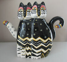 Laurel Burch Polka Dot CATS 48oz TEAPOT Tea Cat Feline Lover Zig Zag