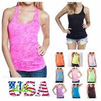 Women's Tank Top T-Shirt Burnout Racerback Sleeveless Fashion Yoga Gym  Made USA