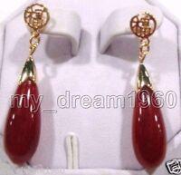 Pretty Teardrop Red Jade 18k Yellow Gold GOOD FORTUNE Stud Earrings