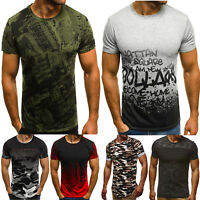 Men's Camo Short Sleeve Crew Neck T-shirt Casual Muscle Tee Tops Shirts Blouse