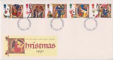 No se han abordado GB Royal Mail FDC 1991 Letras De Navidad Sello Conjunto Tonbridge PMK