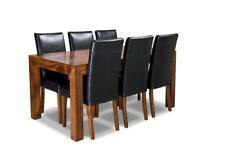 DAKOTA MANGO 180CM DINING TABLE AND 6 BLACK LEATHER DINING CHAIRS (31N&6A3D)