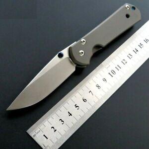 Titanium Handle Drop Point Folding Knife Pocket Hunting Combat Survival D2 Blade