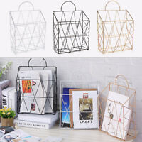 Industrial Wall Mounted Metal Wire Magazine Newspaper Rack Letter Storage Basket
