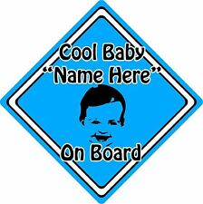 Personalised Cool Baby/Child On Board Car Sign ~ Baby Face Silhouette ~ Blue
