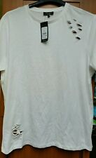 New Look Mens T Shirt Ripped Cut Out Distressed Short Sleeve Crew Neck Size L