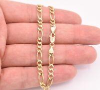 "4.5mm Royal Figaro Solid Link Ankle Bracelet Anklet Real 10K Yellow Gold 8""-12"""