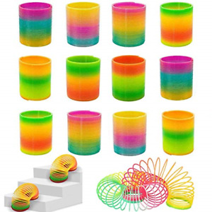 Rainbow Magic Spring, 12 PCS Colorful Rainbow Neon Plastic Spring Toy Party for
