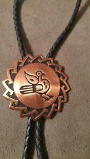 Vintage Solid Copper Bolo Tie Sun Ethnic Tribal Bird Design Western String Bola