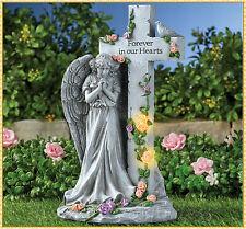 "Solar Lighted Angel Memorial Garden Statue Grave Cemetery Beloved Departed 12""H"