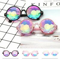 Rave Kaleidoscope Psychedelic Round Party Glasses Prism Diffraction Crystal Lens