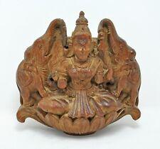Antique Wooden Goddess Laxmi Idol Figurine Original Old Hard Wood Hand Carved