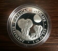 2014 African Wildlife Elephant 100 Shillings 1oz Fine Silver Coin in capsule