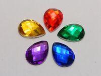 200 Acrylic Flatback TearDrop Rhinestone Gems 10X14mm No Hole Colour Choice