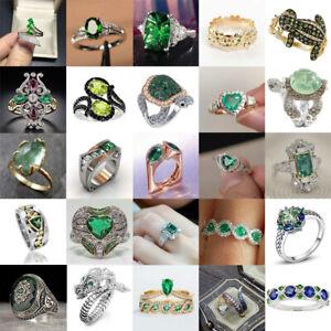 Women 925 Silver Wedding Rings Emerald Fashion Jewelry Gift Size 6-10