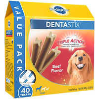 PEDIGREE DENTASTIX Beef Flavor Large Treats for Dogs - Value Pack 2.08 Pounds 40