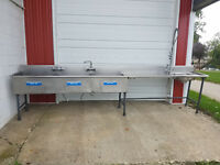 "Stainless Steel 3 Compartment Sink Clean Table 165"" Faucets"