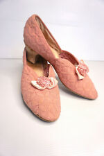 Vintage heeled retro/ art deco pink slippers 1940s/50s-Myer Emporium-As Is