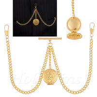 Brand New Gold Colour Double Albert Pocket Watch Chain With Locket
