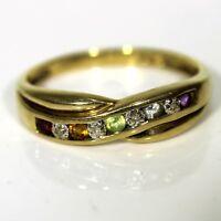 Pretty Multi Gem & Diamond Half Eternity 9ct Yellow Gold ring Q ~ 8 1/4