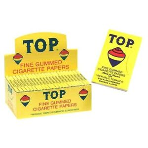 AUTHENTIC TOP FINE GUMMED CIGARETTE ROLLING PAPERS  24 BOOKLET