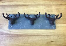 Cast Iron Stag Antler Hooks On Slate By Fallen Fruits