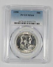 1958 MS64 Franklin Half Dollar - 90% SILVER - PCGS Graded *565