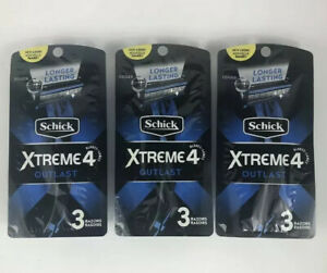 Schick Xtreme 4 Blade Outlast With Edger Disposable Razors- 3 Pack