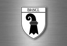 Sticker decal souvenir car coat of arms shield city flag switzerland basel