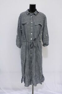 Gerry Weber Women's Linen Shirt Dress CD4 Blue Size US:12 NWT