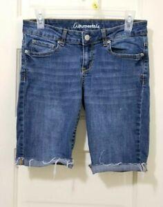 Aeropostale LOLA Low Rise Jegging Blue Jean Cut Off Shorts 6 Small Roll Cuff EUC