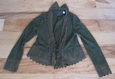 Anthropologie Guinevere Olive Green Cardigan with Lace ruffle detail Size Medium