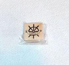 AHOY WITH SHIPS WHEEL - 2 X 2 INCH WOOD MOUNTED RUBBER STAMP - #4