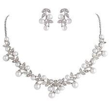 Nuptiale mariage collier boucle d'oreille bijoux de luxe Perle Ivoire & Argent Coffret Cadeau