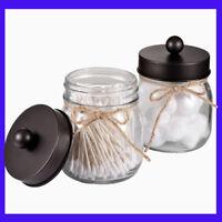 Mason Jar Bathroom Vanity Organizer Rustic Farmhouse Decor Bronze Accessories 2X