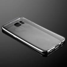 ShockProof Silicone Silver Bumper Clear Slim Case Cover Samsung Galaxy S7 Edge