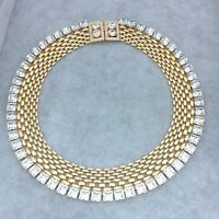 Stunning Vintage Gold & Diamante Cleopatra Collar Necklace Signed BOZART Italy