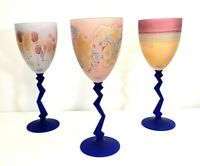 """3 Studio Art Wine 9"""" Glasses with Frosted Dark Blue Colorful Stems"""