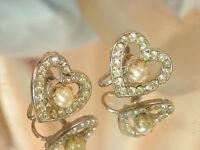 Glitzy Heart Ice Rhinestone Faux Pearl Vintage 50's Screw Back Earrings 243jl7