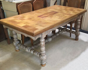 LARGE FRENCH ANTIQUE REFECTORY STYLE EXTENDING SOLID OAK DINING TABLE