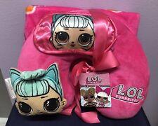 LOL SURPRISE DOLL  3PC Travel Set Neck Pillow Eye Mask Soft Blanket Wrap NEW!