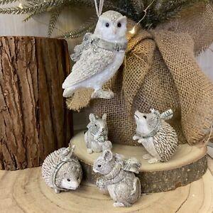 Grey White Glitter Woodland Animal Christmas Tree Decoration Gisela Graham Owl