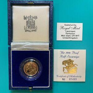 Sealed 1986 United Kingdom 22K Half-Sovereign Gold Proof 3.99 Gram Royal Mint