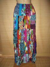 New Cotton Crinkle MIX AQUA Blue patchwork MAXI skirt onesize (8 - 16 best)